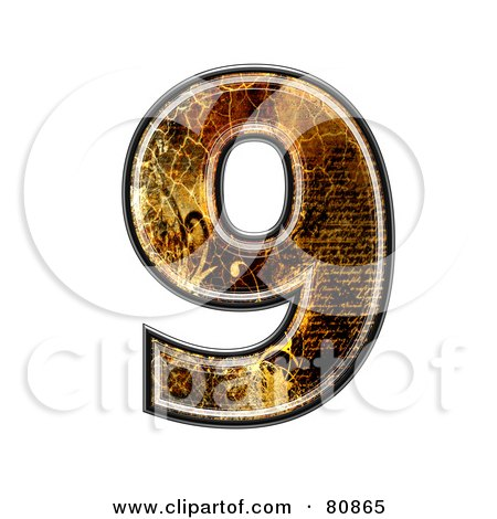Royalty-Free (RF) Clipart Illustration of a Grunge Texture Symbol; Number 9 by chrisroll