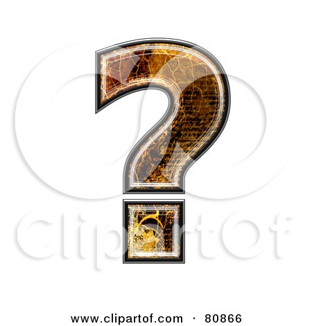 Royalty-Free (RF) Clipart Illustration of a Grunge Texture Symbol; Question Mark by chrisroll