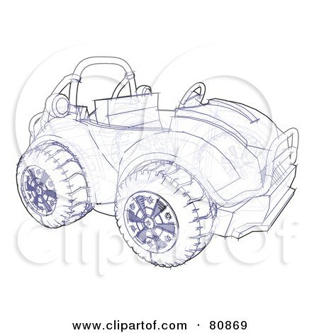Royalty-Free (RF) Clipart Illustration of a Technical Sketch Drawing Of An Off Road Atv Or Buggy by Leo Blanchette