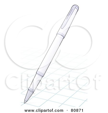 Royalty-Free (RF) Clipart Illustration of a Technical Sketch Drawing Of A Pen Drawing On Graph Paper by Leo Blanchette