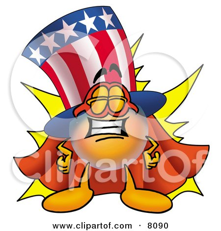 Clipart Picture of an Uncle Sam Mascot Cartoon Character Dressed as a Super Hero by Toons4Biz