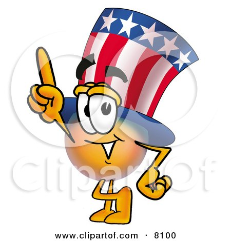 Clipart Picture of an Uncle Sam Mascot Cartoon Character Pointing Upwards by Toons4Biz