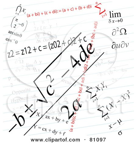 Royalty-Free (RF) Clipart Illustration of a Math Problem Background On Ruled Paper by MacX