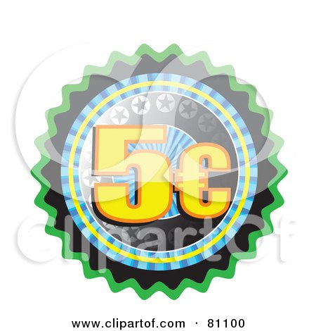 Royalty-Free (RF) Clipart Illustration of a Five Cent Seal Button by MacX