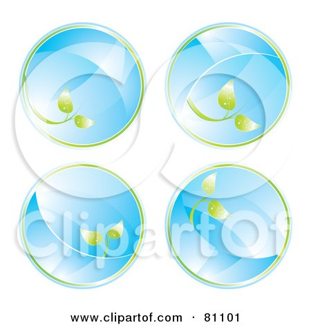 Royalty-Free (RF) Clipart Illustration of a Digital Collage Of Four Glass Eco Circles With Leaves by MilsiArt