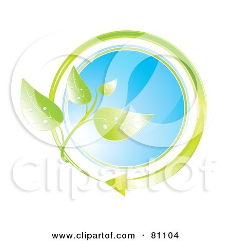 Royalty-Free (RF) Clipart Illustration of a Blue Glass Circle With A Green Arrow And Leaves by MilsiArt