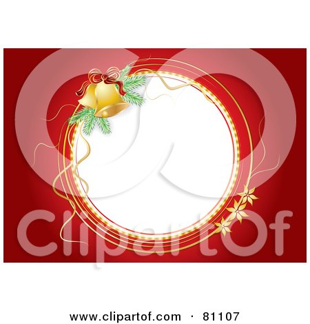 Royalty-Free (RF) Clipart Illustration of a White Christmas Jingle Bell Circle With A Red Background by MilsiArt