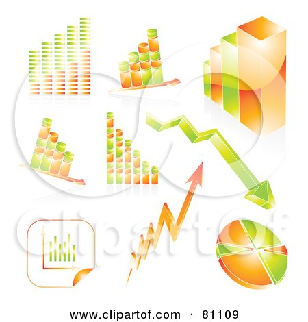 Royalty-Free (RF) Clipart Illustration of a Digital Collage Of Ed Orange And Green Arrows, Graphs And Charts by MilsiArt