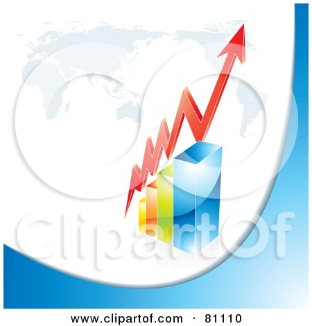 Royalty-Free (RF) Clipart Illustration of a 3d Red Arrow Curving Around A Red Bar Graph Under A Map by MilsiArt