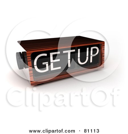 Royalty-Free (RF) Clipart Illustration of a 3d Wooden Alarm Clock Reading Get Up by stockillustrations