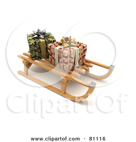 Royalty-Free (RF) Clipart Illustration of a 3d Wooden Sled With Wrapped Christmas Presents, On A Shaded White Background by stockillustrations