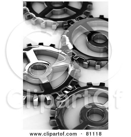 Royalty-Free (RF) Clipart Illustration of Metal Cogs With Shallow Depth Of Field Over A White Reflective Surface by stockillustrations