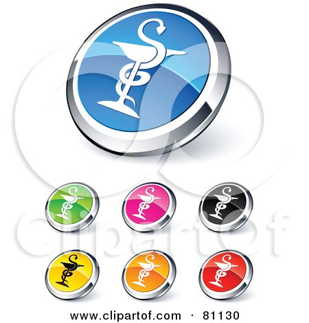 Royalty-Free (RF) Clipart Illustration of a Digital Collage Of Shiny Colored And Chrome Caduceus Website Buttons by beboy
