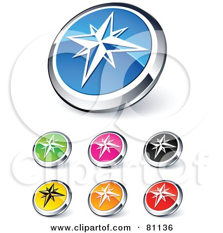 Royalty-Free (RF) Clipart Illustration of a Digital Collage Of Shiny Colored And Chrome Ice Star Website Buttons by beboy