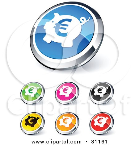 Royalty-Free (RF) Clipart Illustration of a Digital Collage Of Shiny Colored And Chrome Euro Piggy Bank Website Buttons by beboy