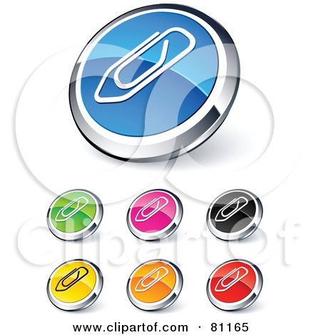 Royalty-Free (RF) Clipart Illustration of a Digital Collage Of Shiny Colored And Chrome Attachment Paperclip Website Buttons by beboy