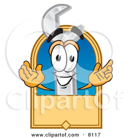 Wrench Mascot Cartoon Character With a Blank Tan Label Posters, Art Prints