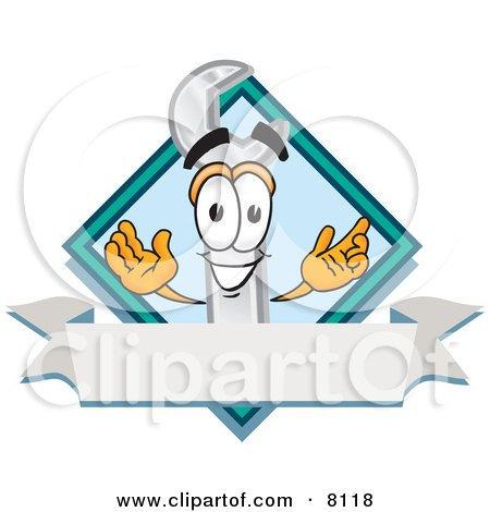 Wrench Mascot Cartoon Character With a Blank White Label Posters, Art Prints