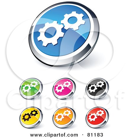 Royalty-Free (RF) Clipart Illustration of a Digital Collage Of Shiny Colored And Chrome Gear Website Buttons by beboy