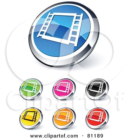 Royalty-Free (RF) Clipart Illustration of a Digital Collage Of Shiny Colored And Chrome Film Strip Website Buttons by beboy