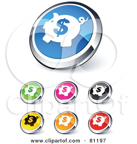 Royalty-Free (RF) Clipart Illustration of a Digital Collage Of Shiny Colored And Chrome Dollar Piggy Bank Website Buttons by beboy