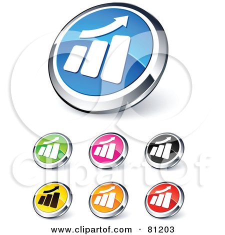 Royalty-Free (RF) Clipart Illustration of a Digital Collage Of Shiny Colored And Chrome Bar Graph Website Buttons by beboy