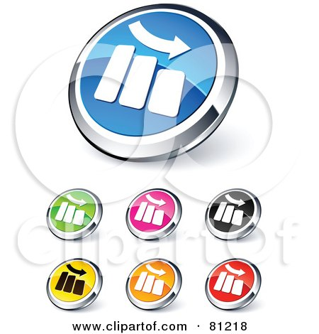 Royalty-Free (RF) Clipart Illustration of a Digital Collage Of Shiny Colored And Chrome Decrease Bar Graph Website Buttons by beboy
