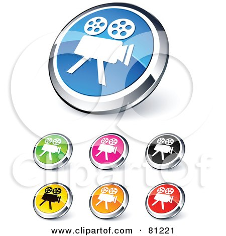 Royalty-Free (RF) Clipart Illustration of a Digital Collage Of Shiny Colored And Chrome Movie Camera Website Buttons by beboy