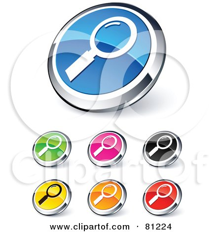 Royalty-Free (RF) Clipart Illustration of a Digital Collage Of Shiny Colored And Chrome Magnifying Glass Website Buttons by beboy