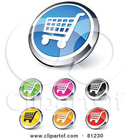 Royalty-Free (RF) Clipart Illustration of a Digital Collage Of Shiny Colored And Chrome Shopping Cart Website Buttons by beboy