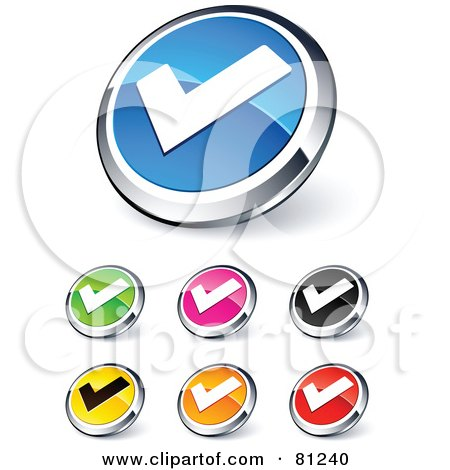 Royalty-Free (RF) Clipart Illustration of a Digital Collage Of Shiny Colored And Chrome Tick Mark Website Buttons by beboy