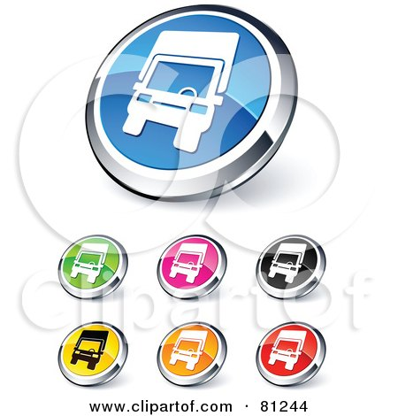 Royalty-Free (RF) Clipart Illustration of a Digital Collage Of Shiny Colored And Chrome Trucking Website Buttons by beboy