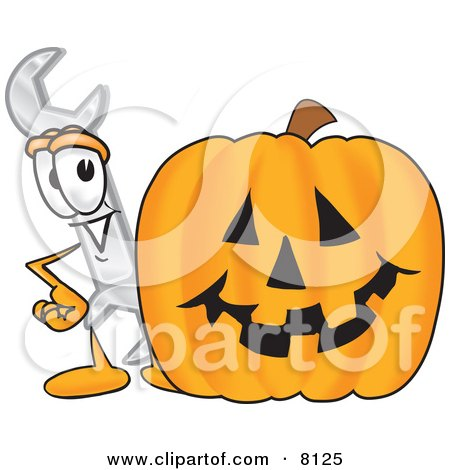 Clipart Picture of a Wrench Mascot Cartoon Character With a Carved Halloween Pumpkin by Toons4Biz