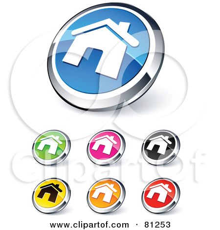 Royalty-Free (RF) Clipart Illustration of a Digital Collage Of Shiny Colored And Chrome Home Website Buttons by beboy