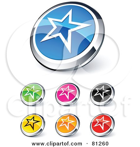 Royalty-Free (RF) Clipart Illustration of a Digital Collage Of Shiny Colored And Chrome Star Outline Website Buttons by beboy