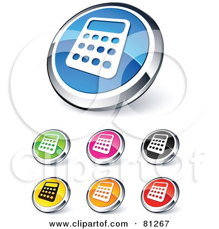 Royalty-Free (RF) Clipart Illustration of a Digital Collage Of Shiny Colored And Chrome Mini Calculator Website Buttons by beboy