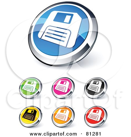 Royalty-Free (RF) Clipart Illustration of a Digital Collage Of Shiny Colored And Chrome Floppy Disc Website Buttons by beboy