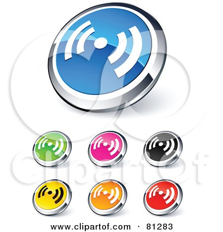 Royalty-Free (RF) Clipart Illustration of a Digital Collage Of Shiny Colored And Chrome Signal Website Buttons by beboy
