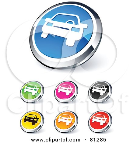 Royalty-Free (RF) Clipart Illustration of a Digital Collage Of Shiny Colored And Chrome Car Website Buttons by beboy
