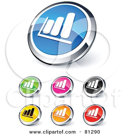 Royalty-Free (RF) Clipart Illustration of a Digital Collage Of Shiny Colored And Chrome Financial Bar Graph Website Buttons by beboy