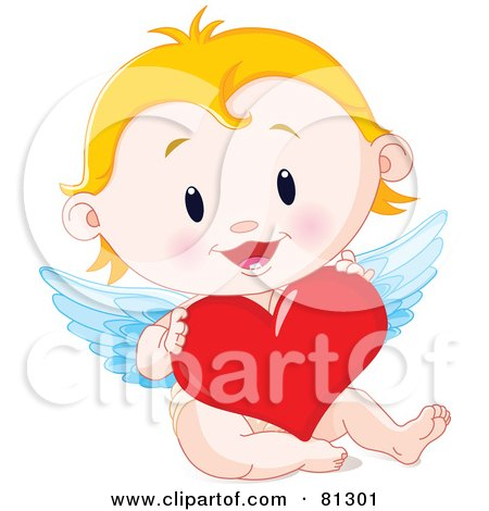 Royalty Free RF Clipart Illustration Of A Blond Baby Cupid Holding A Red Heart