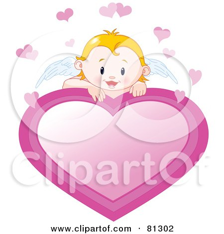 Blond Cupid Baby Looking Over A Pink Heart Sign Posters, Art Prints