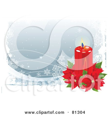 Royalty-Free (RF) Clipart Illustration of a Christmas Background With Snowflakes, A Candle And Red Poinsettias by Pushkin