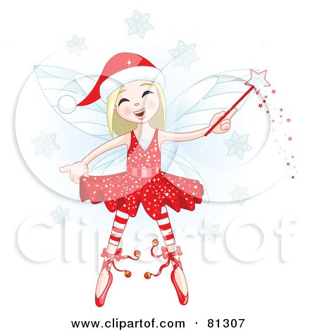 Royalty-Free (RF) Clipart Illustration of a Happy Blond Christmas Fairy Girl With A Magic Wand by Pushkin