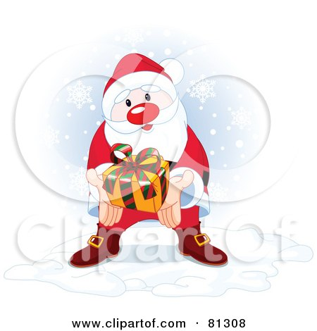 Royalty-Free (RF) Clipart Illustration of a Thoughtful Santa Holding Out A Gift While Standing In The Snow by Pushkin