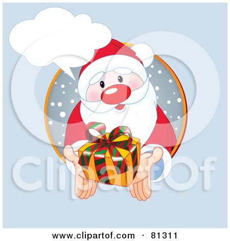 Royalty-Free (RF) Clipart Illustration of a Thoughtful Santa Holding Out A Present From A Snowy Circle, With A Word Balloon by Pushkin