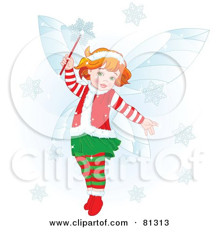 Royalty-Free (RF) Clipart Illustration of a Happy Redhead Christmas Fairy Girl In Christmas Clothes by Pushkin