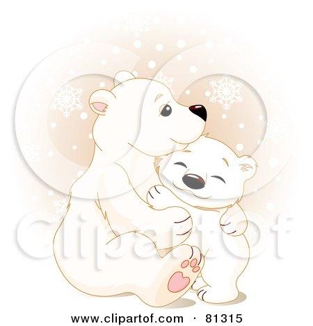 Royalty-Free (RF) Clipart Illustration of a Cute Polar Bear Cub Hugging His Mother by Pushkin
