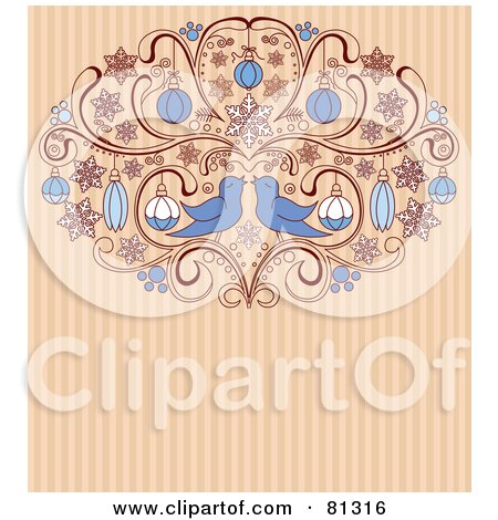 Two Love Birds In An Ornamental Scroll With Christmas Baubles On A Striped Background Posters, Art Prints