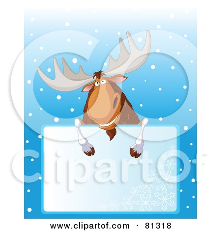 Royalty-Free (RF) Clipart Illustration of a Grinning Christmas Moose Looking Over A Blank Snowflake Sign by Pushkin
